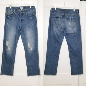 ASOS Button Fly Raw Hem Distressed Boyfriend Jeans